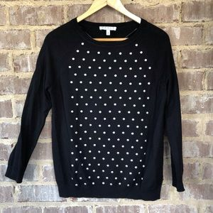 Chaus black sweater with silver studs. Sz S